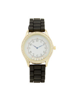 Floating Rhinestone Watch - BLACK - 1140071432929