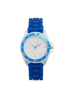 Glitter Face Rubber Strap Watch - BLUE - 1140071432930