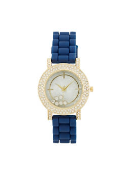 Floating Rhinestone Rubber Strap Watch - 1140071432932