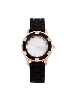 Marble Face Watch with Rubber Strap - BLACK - 1140071432934