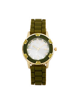 Marble Face Watch with Rubber Strap - OLIVE - 1140071432934