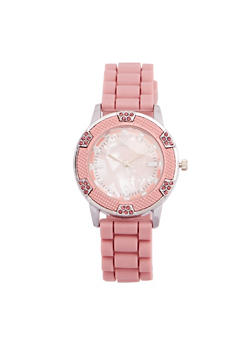 Marble Face Watch with Rubber Strap - BLUSH - 1140071432934