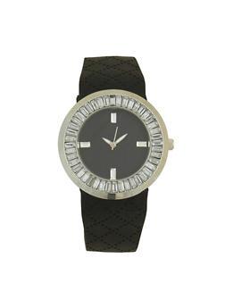 Rhinestone Bezel Silicone Watch - 1140071432936