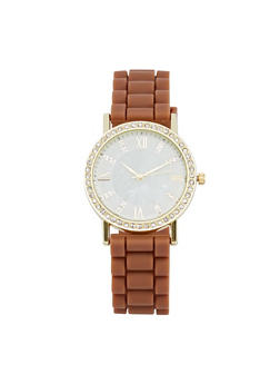 Rhinestone Bezel Rubber Strap Watch - 1140071432942