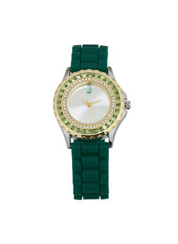 Jeweled Rhinestone Rubber Strap Watch - GREEN - 1140071432943