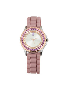 Jeweled Rhinestone Rubber Strap Watch - BLUSH - 1140071432943