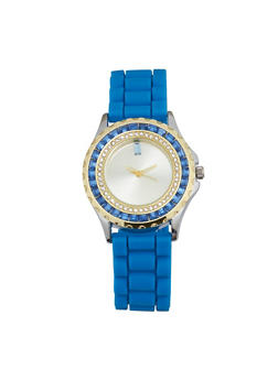 Jeweled Rhinestone Rubber Strap Watch - BLUE - 1140071432943