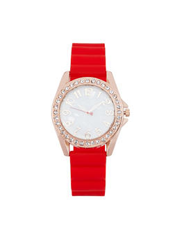 Rhinestone Bezel Rubber Strap Watch - RED - 1140071432944