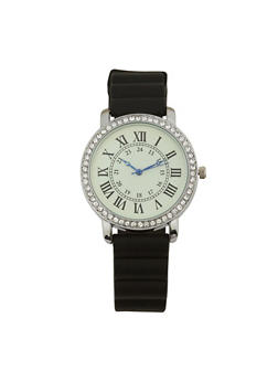 Roman Numeral Rubber Strap Watch - BLACK - 1140071432947