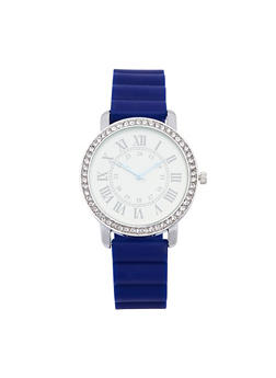 Roman Numeral Rubber Strap Watch - NAVY - 1140071432947
