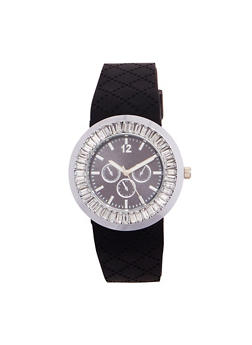 Rhinestone Bezel Watch with Textured Rubber Strap - BLACK - 1140071432977