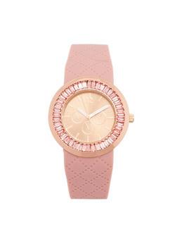 Rhinestone Bezel Watch with Textured Rubber Strap - 1140071432977