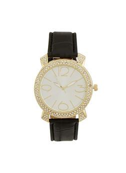 Crystal Bezel Watch - BLACK - 1140071433010