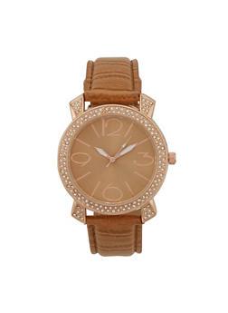 Crystal Bezel Watch - TAN - 1140071433010