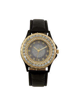 Glitter Face Watch with Jewelled Bezel - BLACK - 1140071433020