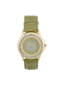 Glitter Face Watch with Jewelled Bezel - GREEN - 1140071433020