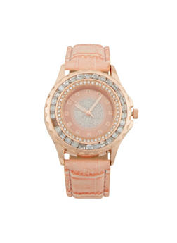 Glitter Face Watch with Jewelled Bezel - BLUSH - 1140071433020