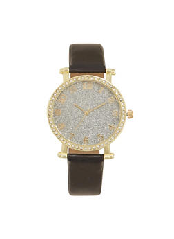 Faux Leather Watch with Studded Bezel and Glitter Face - BLACK - 1140071433030