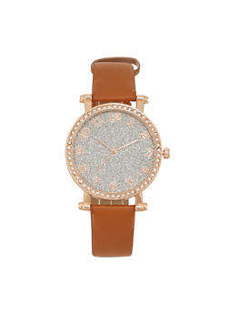 Faux Leather Watch with Studded Bezel and Glitter Face - TAN - 1140071433030