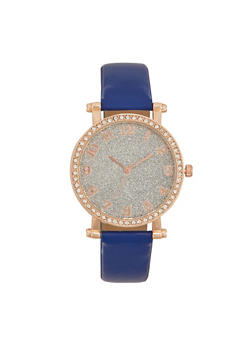 Faux Leather Watch with Studded Bezel and Glitter Face - NAVY - 1140071433030