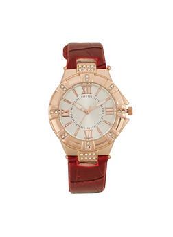Round Rhinestone Studded Watch with Faux Alligator Skin Strap - WINE - 1140071433040