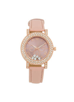 Rhinestone Bezel Faux Leather Watch - 1140071433152