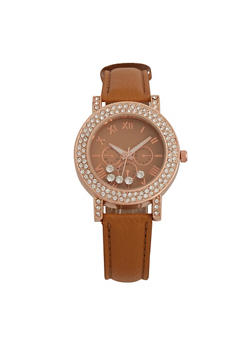 Faux Leather Strap Watch with Rhinestone Encrusted Bezel - 1140071433210