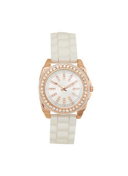 Rhinestone Face and Bezel Watch with Rubber Strap - 1140071433250