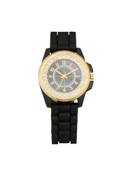 Rhinestone Studded Watch with Rubber Chain Strap - 1140071433252