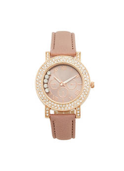 Double Rhinestone Bezel Watch with Faux Leather Strap - 1140071433254