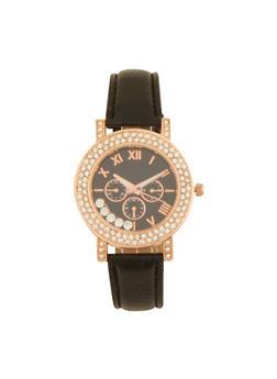 Rhinestone Bezel Watch with Faux Leather Strap - 1140071433255