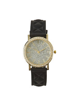 Quilted Watch with Glitter and Rhinestones - 1140071433426
