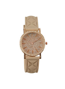 Quilted Watch with Glitter and Rhinestones - TAN - 1140071433426