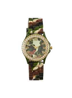 Camouflage Print Watch with Rhinestones - 1140071433450