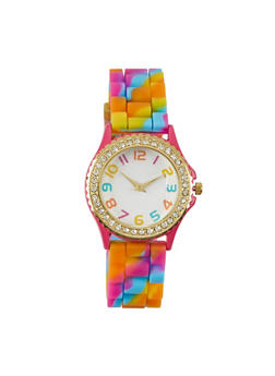 Camouflage Print Watch with Rhinestones - MULTI COLOR - 1140071433450