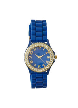 Rhinestone Bezel Watch with Woven Strap - 1140071433456