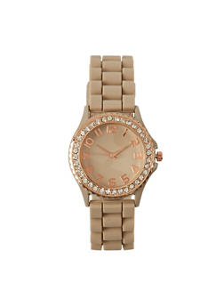 Rhinestone Bezel Watch with Woven Strap - TAUPE - 1140071433456
