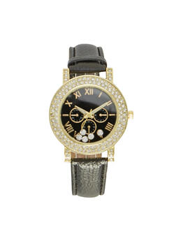 Watch with Crystal Bezel and Floating Crystals - BLACK - 1140071433512