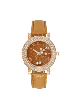 Watch with Crystal Bezel and Floating Crystals - 1140071433512