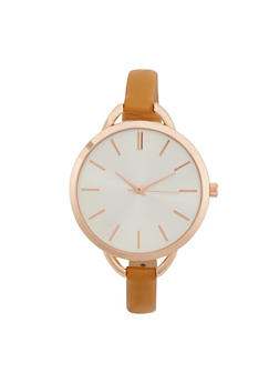 Round Watch with Skinny Faux Leather Strap - 1140071433570
