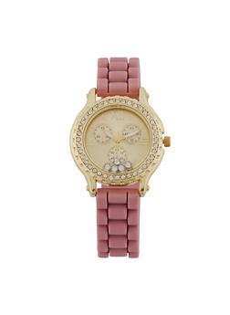 Floating Rhinestone and Encrusted Bezel Watch - MAUVE - 1140071433785