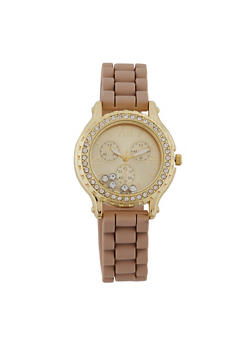 Floating Rhinestone and Encrusted Bezel Watch - TAUPE - 1140071433785