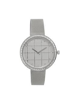Rhinestone Bezel Metallic Mesh Strap Watch - 1140071434001