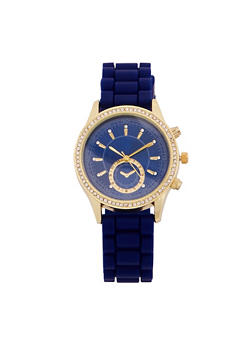Rhinestone Bezel Watch with Rubber Strap - 1140071434098