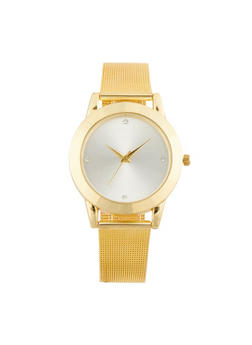 Metal Mesh Strap Watch with Glitter Face - 1140071434218
