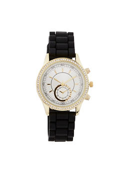 Rhinestone Accented Rubber Strap Watch - BLACK - 1140071434294