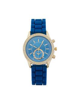 Rhinestone Accented Rubber Strap Watch - 1140071434294