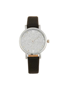 Glitter Face Faux Leather Strap Watch - 1140071434585