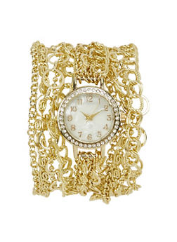 Wrap Chain Watch with Rhinestones - 1140071434832