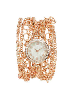 Wrap Chain Watch with Rhinestones - BR COPPER - 1140071434832